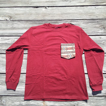 Navajo Aztec Tribal Burgundy Pocket Tee Long Sleeve