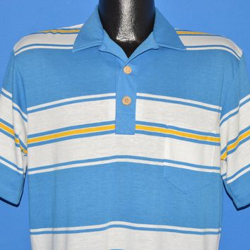 80s OP Ocean Pacific Striped Polo shirt Large