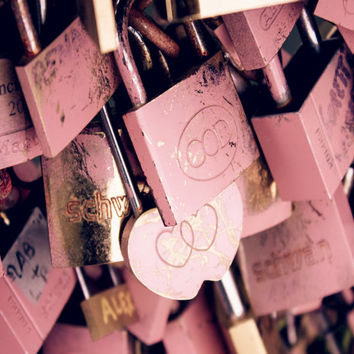 Paris Love Lock Photos, Paris Photography, Pink Paris Prints,  Paris Wall Decor, Pink Gifts for Her, Paris Gifts, Pink Gifts for Girls