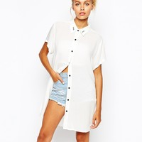 Lazy Oaf Longline Short Sleeve Shirt With Total Mess Collar Print