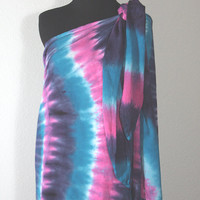 Pareo Sarong, Size S/M, Tie Dyed Raspberry, Navy, Cerulean, and Sky Blue, Ready To Ship