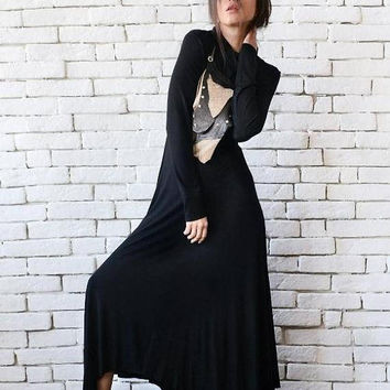 SALE NEW Black Maxi Dress/Asymmetric Loose Dress/Black Kaftan/Long Sleeve Casual Dress/Comfortable Everyday Dress/Turtle Neck Polo Dress