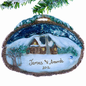 Log Cabin ornament - Christmas ornament personalized free - new home Christmas ornament - family ornament - vacation ornament