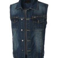 LE3NO Mens Vintage Button Down Denim Jean Vest with Pockets