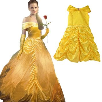 Kids Girl dress Beauty and beast cosplay carnival costume fancy belle princess dress for Christmas Halloween dress child clothes