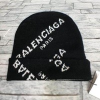 Balenciaga Autumn Winter Women Men Knit Hat Cap Black