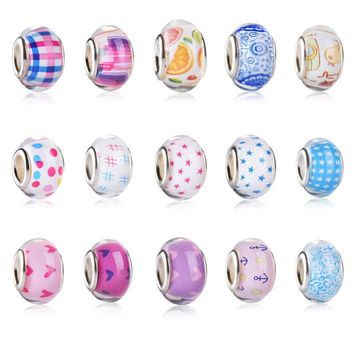 Summer Simple Pure Pattern Color Loose Acrylic Plastic Bracelet Bead Charms Big Hole f