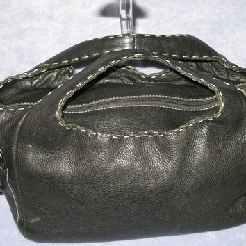 $350 Donald J Pliner Pebble Leather Stitched Bucket Handbag