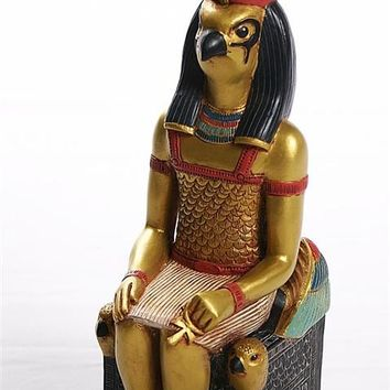 Horus on Throne Wearing Crown of Ancient Egypt Egyptian Statue 10H