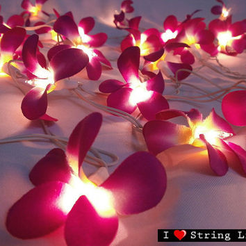 35 of Purple Frangipani Flower String Lights For Wedding and House decoration (35 Flowers/Set)