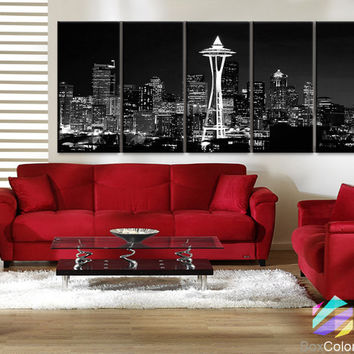 "XLARGE 30""x 70"" 5 Panels Art Canvas Print Seattle Washington night light Downtown Skyline Black & White Wall Home  decor (framed 1.5"" depth)"