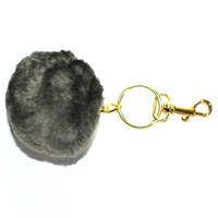 FAUX FUR pom pom, faux fur  Key chain, women's purse charm, chinchilla key chain, grey pom pom