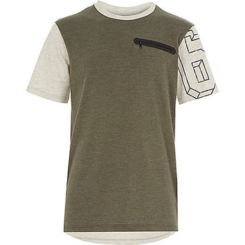 River Island Boys khaki green zip pocket t-shirt