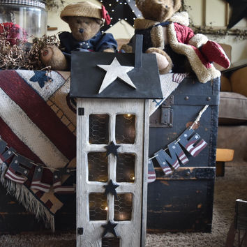 Primitive Saltbox Country House Decor, Exclusive in Country White