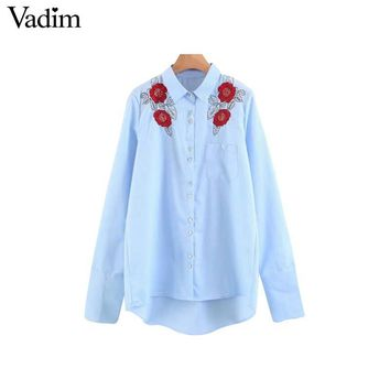 Women floral embroidery sequined shirts pocket long sleeve turn down collar blouses ladies casual tops