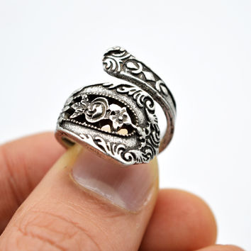 12pcs Vintage Spoon Ring Jewelry For Women Anniversary Wedding Rings Birthday Gift Bohemia Adjustable Rings For Mom Nana RG44