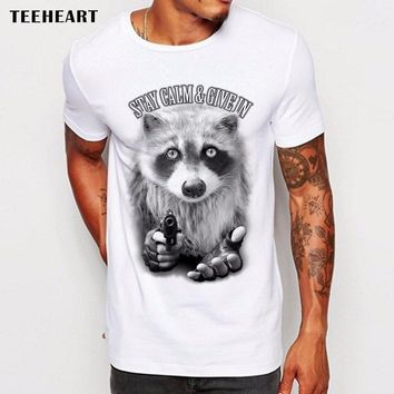teeheart 2017 Fashion Raccoon robbery Printed T Shirt Summer Men Hipster Cool Animal Short Sleeve Tops Tee Homme la761