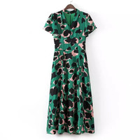 Stylish Vintage Camouflage Leopard Print Ruffle V-neck Prom Dress One Piece Dress [5013106820]