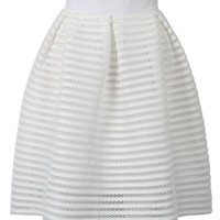 White Sheer Stripe Knee Length Skater Skirt