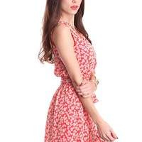 Coral Floral Print Smock Waist Scoop Neck Dress