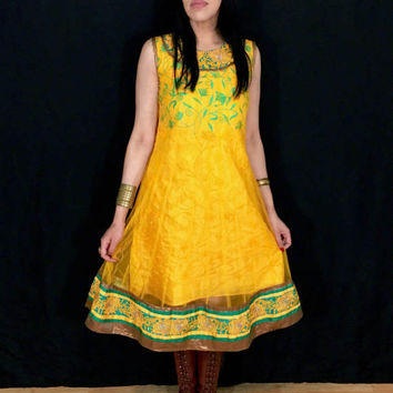 Vintage 60s Yellow Handmade Traditional Afghan Green Embroidered Rare Sleeveless Kuchi Dress S // M