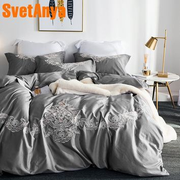 Svetanya Gray Embroidered Bedding Sets Queen King Size Bedlinen egyptian Cotton ( Sheet Pillowcase Duvet Cover Set )