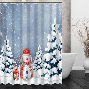 Christmas Snowman Shower Curtain Custom Made Unique Bath Waterproof Bathroom Products Curtains