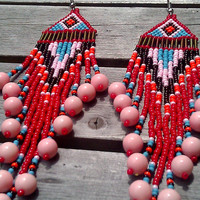Shoulder Kissing Native American  Beaded Earrings with Bird Tailed Fringe Accented with Pink Glass Beads