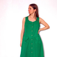 Simple Green Button Down Sleeveless Vintage A-line Dress With Decorative Pockets And Round Neckline, Retro Shirt Dress
