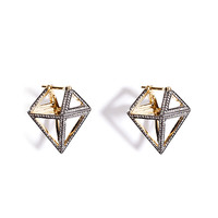 Noor Fares - 18K Gold Octahedron Earrings with White Diamonds