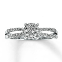 Diamond Ring 1/2 ct tw Round-cut 10K White Gold