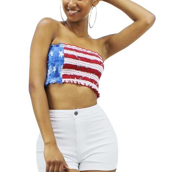 U.S Flag Red White Stripe and Blue Star Smocked Bandeau Crop Top