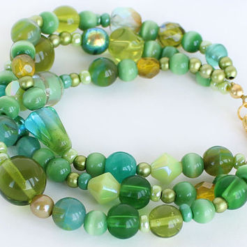 3 strand bracelet green glass beads fun bracelet green bracelet best friend birthday gift