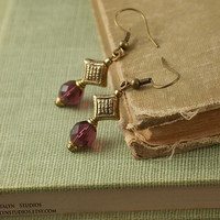Ida - Golden Diamond Drop Amethyst Czech Glass Beaded Renaissance Earrings