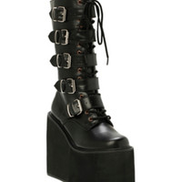 Demonia By Pleaser Black PU Buckle Boots