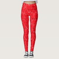 Cute Happy Smiling Hearts Pattern in Valentine Red Leggings