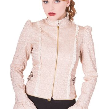 Victorian Steampunk High Collar Beige Corset Lace-up Riding Jacket