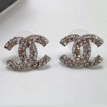 Chanel Women Crystal Rhinestone Fashion Logo Stud Earring Jewelry