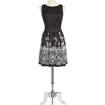 Chetta B Floral Pleated Dress