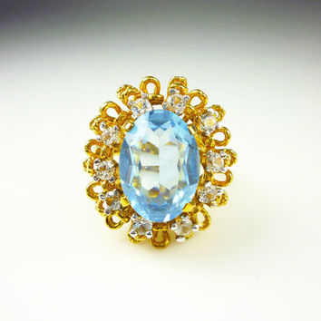 Vintage Ring Panetta Sterling Vermeil Aquamarine Glass Rhinestone Cocktail Jewelry