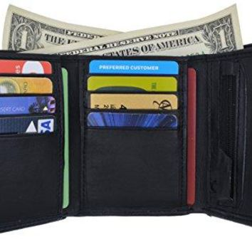 Lambskin Leather Men's Trifold Outside ID Credit Card Holder W/Zipper Pocket Wallet