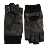 John Varvatos Leather Fingerless Gloves