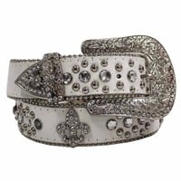 Luxury Divas White Fleur De Lis Rhinestone Western Bling Belt Size Medium/Large