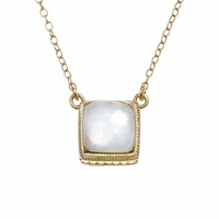 Anna Beck || Gold plated mother of pearl small cushion necklace