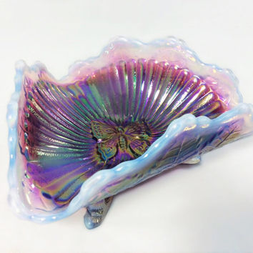 Vintage Fenton Butterfly Footed Iridescent Dish Carnival Tri Corner Bowl Opalized Rim