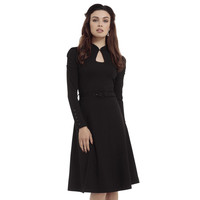 Dita Keyhole Neckline Flare Dress Black