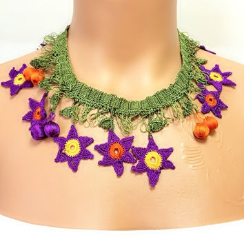 SALE! 30% OFF!! Crochet Necklace,hand-knitted,Jewellery,Turkish Oya,Gift Necklace,Accessories,Gift İdea,Last One