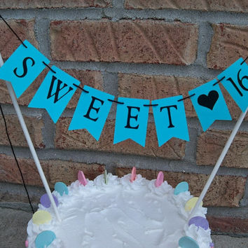 Sweet 16 Cake Topper Banner, Turquoise Pennants, 16th Birthday Bunting, Cupcake Plate Decoration