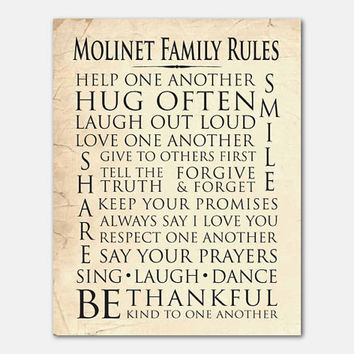 Customizable - Personalized Family Wall Art - Family Rules - Room Decor - Subway Art - Typography -11 x 14 print - Your choice of bacgrounds