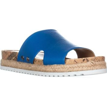 Franco Sarto Elina Slide Sandals, Blue, 7 US / 37 EU